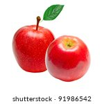 red apple isolated on white...   Shutterstock . vector #91986542