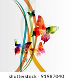 butterfly background vector - stock vector