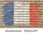 chalky french flag painted with ... | Shutterstock . vector #92021297