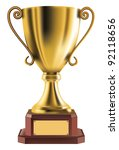 golden trophy isolated on... | Shutterstock .eps vector #92118656