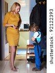 mother warns her son in hallway ... | Shutterstock . vector #92122393
