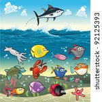 Family of funny fish under the sea. Vector isolated characters. - stock vector
