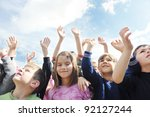 happy child kids group have fun ... | Shutterstock . vector #92127244