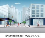 big city scene | Shutterstock .eps vector #92139778