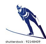jumping skier | Shutterstock .eps vector #92148409