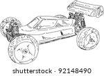 vector - hand draw RC buggy car isolated on background