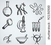 biology hand drown symbols | Shutterstock .eps vector #92150500