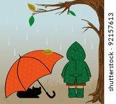 autumn illustration with girl ... | Shutterstock . vector #92157613