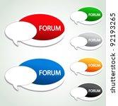 Vector forum menu item - oval sticker - stock vector