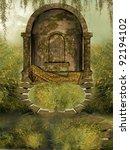 Temple In A Fantasy Landscape...