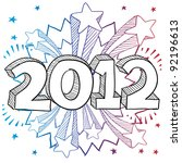 Doodle style 2012 New Year illustration in vector format with retro 1970s shooting stars pop background - stock vector