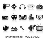 black home entertainment icons set - stock vector