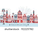 decorative country town | Shutterstock .eps vector #92225782