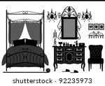 Stock vector royal bedroom room old antique victorian furniture 92235973