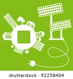 Green ecology energy planet vector concept with socket, plug and solar panels for poster - stock vector