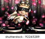 Valentine Cupid is In the House and mixing up some Valentine cheer.  Turntables with vinyl albums. Cupid with wings, bow and heart arrow and disco lights in the background. - stock photo