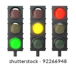 Set Of Traffic Lights With Red  ...