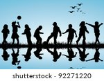 silhouettes of children playing ... | Shutterstock .eps vector #92271220
