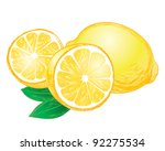 vector lemons with leaves | Shutterstock .eps vector #92275534
