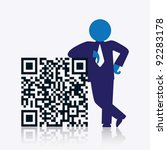 Qr Code With Savvy Businessman...