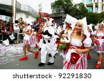 LIMASSOL,CYPRUS-MARCH 6, 2011: Unidentified women in cow and  milkmaid costumes during the carnival parade, established in 16th century, by Venetian traditions. - stock photo