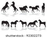 vector silhouettes of horses at ... | Shutterstock .eps vector #92302273