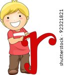 Illustration of a Kid Holding a Letter R - stock vector