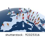 european countries 3d illustration - european continent marked with flags - stock photo