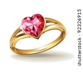 Gold Ring With Pink Heart...