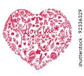 valentine heart in doodle style | Shutterstock .eps vector #92336329