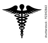 black caduceus symbol isolated... | Shutterstock .eps vector #92342863