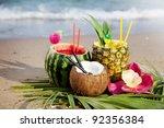 nice fresh exotic cocktails ... | Shutterstock . vector #92356384