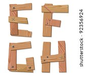 Rustic Wooden Alphabet Letters E, F, G, H made from pieces of wood screwed together, grain and texture on white, illustration, EPS10 - stock vector