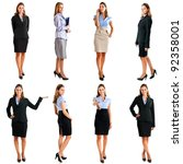 Collection of full length portraits of a beautiful businesswoman - stock photo