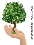 Conceptual illustration of a hand holding a growing tree - stock vector