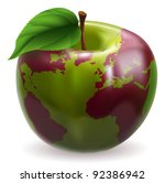 Conceptual illustration of an apple with color on skin forming the world globe - stock vector