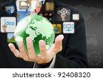 businessman hand holding world... | Shutterstock . vector #92408320