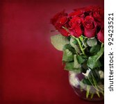 Stock photo bouquet of red roses in vase 92423521