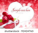 little red gift with roses on... | Shutterstock . vector #92424763