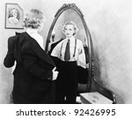 young woman in men's clothing... | Shutterstock . vector #92426995