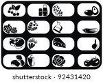 black vector icons set with... | Shutterstock .eps vector #92431420