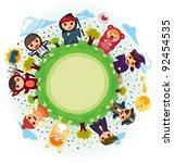 costume party around world   Shutterstock .eps vector #92454535