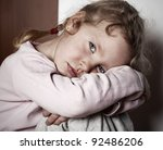 Stock photo sad little girl child s problems 92486206