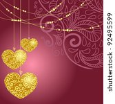 greeting card with heart.... | Shutterstock .eps vector #92495599