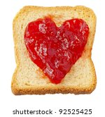 Rusk with strawberry jam in shape of heart - stock photo