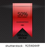 vector red ribbon bookmark | Shutterstock .eps vector #92540449