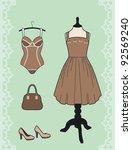 dress and corset | Shutterstock .eps vector #92569240