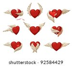 set of hearts with wings.... | Shutterstock .eps vector #92584429