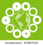 Green eco planet with concept of innovation gears around it vector background - stock vector