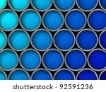 screen filling collection of paint cans with blue paint, gradient from light to dark blue. Shot from directly above, orthographic. - stock photo